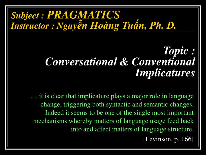 topic conversational conventional implicatures n.
