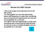 first article inspection report