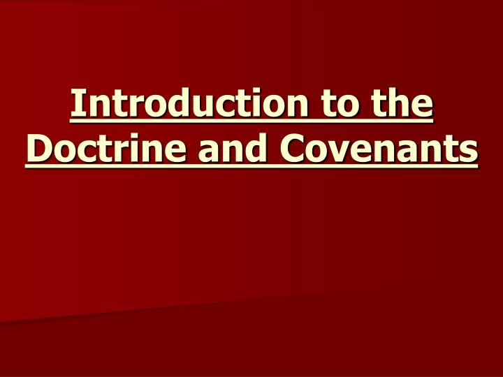 introduction to the doctrine and covenants n.
