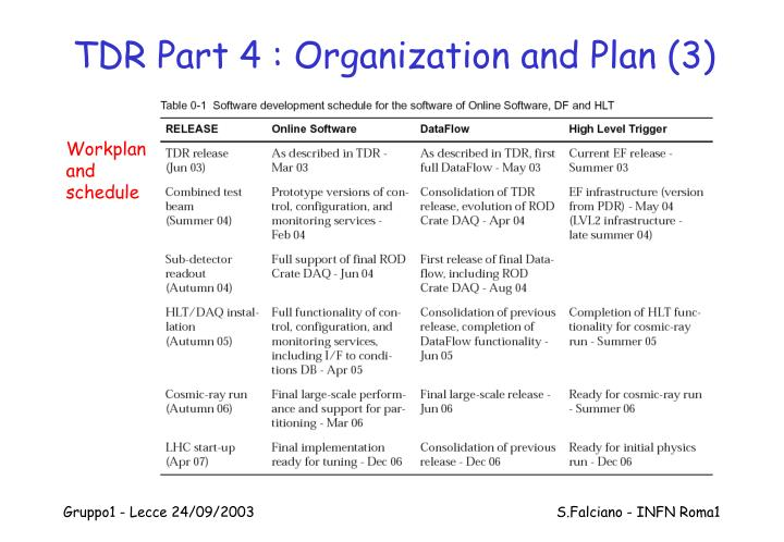 TDR Part 4 : Organization and Plan (3)
