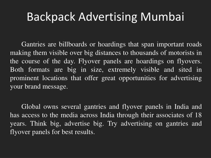 Backpack advertising mumbai1