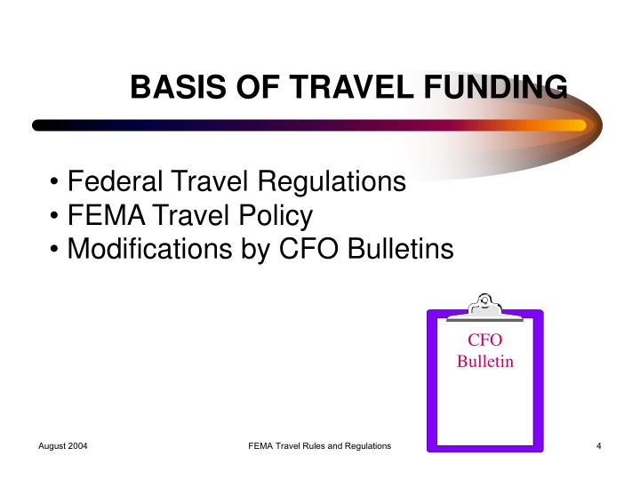 BASIS OF TRAVEL FUNDING