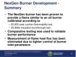 nexgen burner development summary