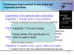 continuous improvement is one of the top corporate priorities