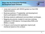 steps that the enterprise services development team followed