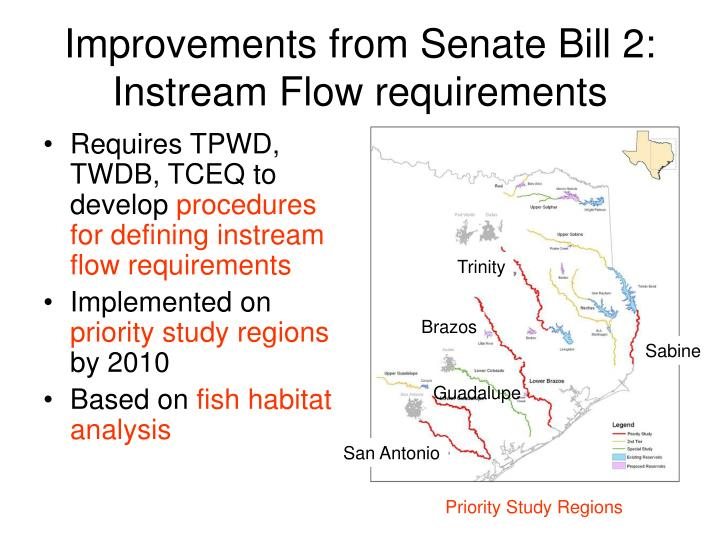 improvements from senate bill 2 instream flow requirements n.