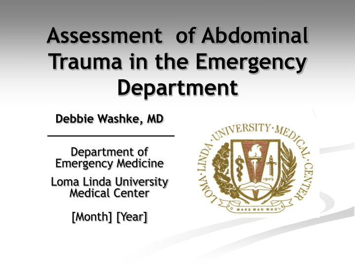 assessment of abdominal trauma in the emergency department n.