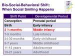 bio social behavioral shift when social smiling happens