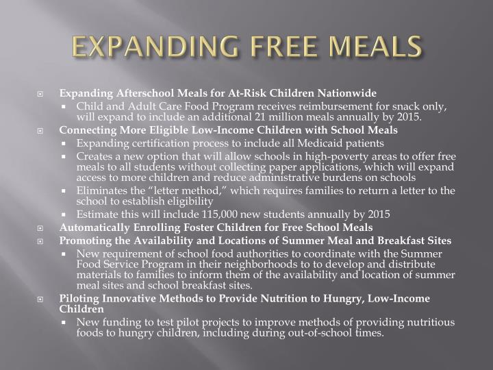 EXPANDING FREE MEALS