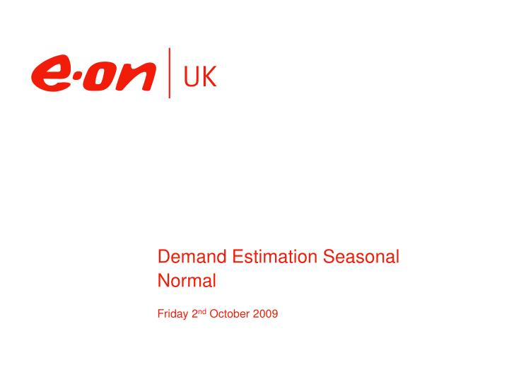 demand estimation seasonal normal n.