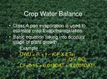 crop water balance