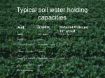 typical soil water holding capacities