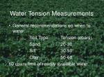 water tension measurements
