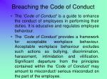 breaching the code of conduct
