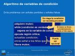 algoritmo de variables de condici n