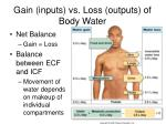 gain inputs vs loss outputs of body water