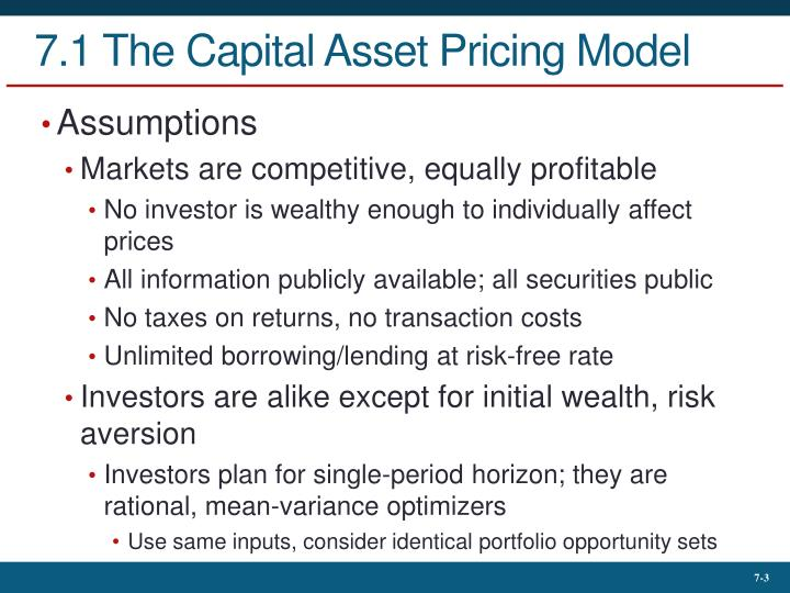 capital asset pricing model and cost