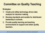 committee on quality teaching