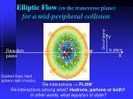 elliptic flow in the transverse plane for a mid peripheral collision