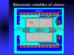 kinematic variables of choice