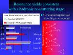 resonance yields consistent with a hadronic re scattering stage