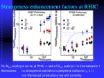 strangeness enhancement factors at rhic