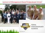 lecturer of management naval postgraduate school