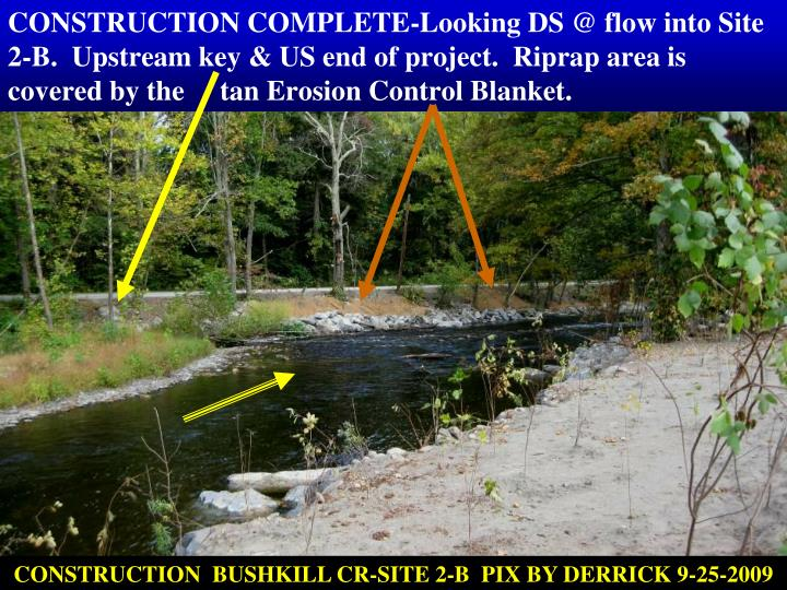 CONSTRUCTION COMPLETE-Looking DS @ flow into Site 2-B.  Upstream key & US end of project.  Riprap area is covered by the     tan Erosion Control Blanket.