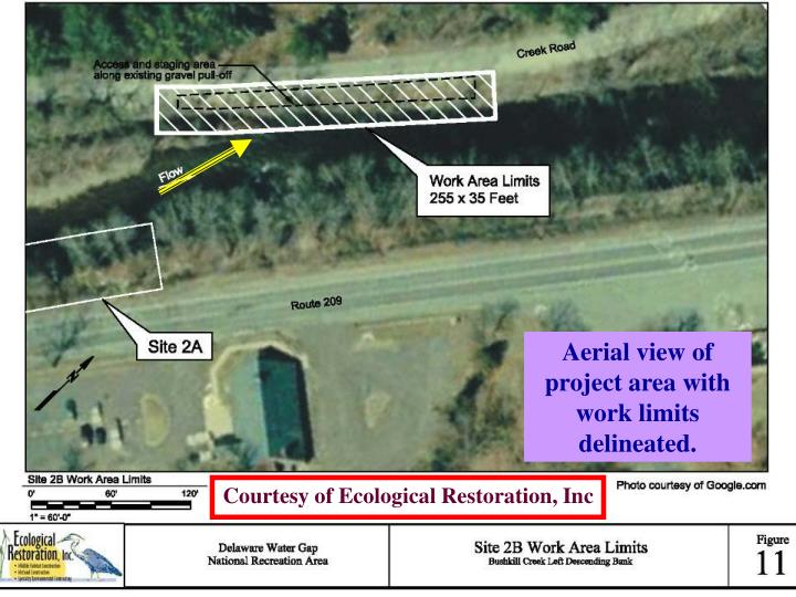 Aerial view of project area with work limits delineated.