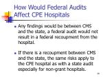 how would federal audits affect cpe hospitals