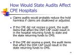 how would state audits affect cpe hospitals