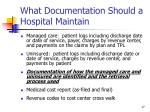 what documentation should a hospital maintain