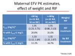 maternal efv pk estimates effect of weight and rif