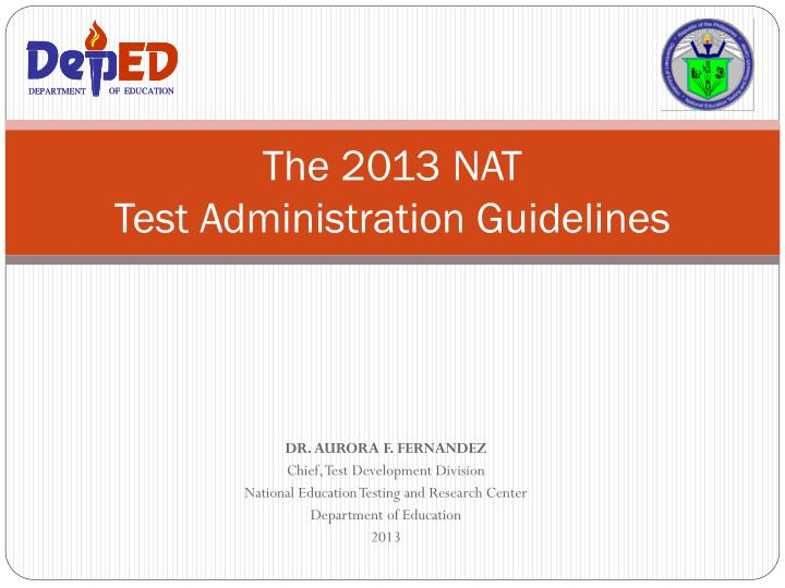 the 2013 nat test administration guidelines n.