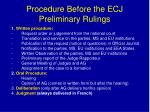 procedure before the ecj preliminary rulings