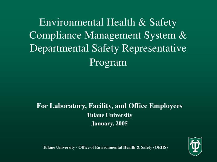 environmental health safety compliance management system departmental safety representative program n.