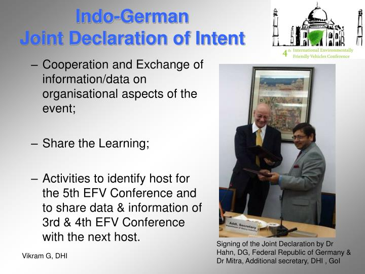 Indo german joint declaration of intent