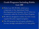 credit programs including public law 480