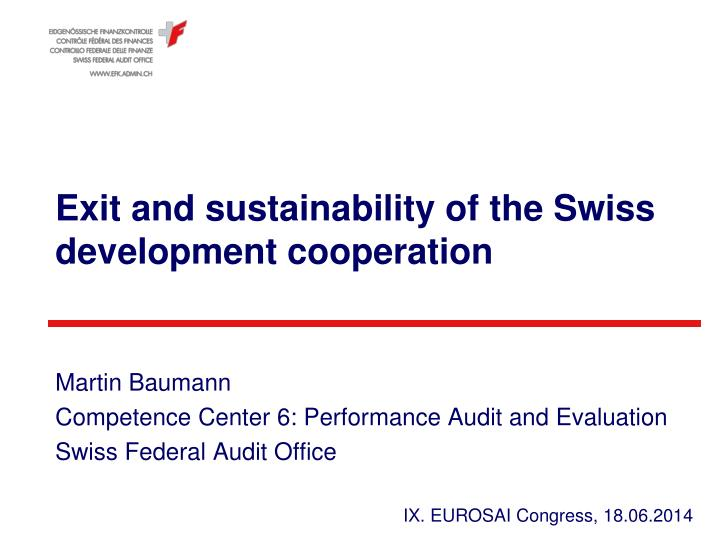 exit and sustainability of the swiss development cooperation n.