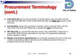 procurement terminology cont