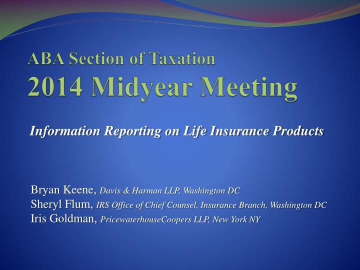aba section of taxation 2014 midyear meeting n.