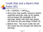 credit risk and a bank s risk index ri