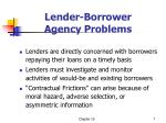 lender borrower agency problems