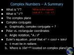 complex numbers a summary