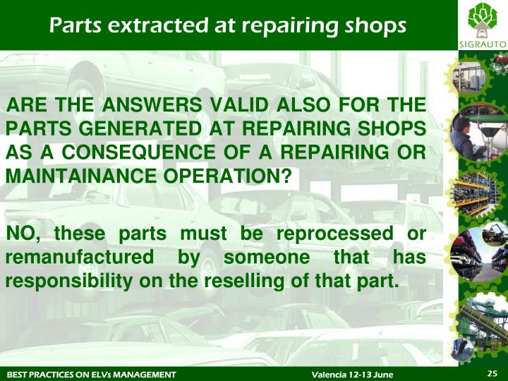 Parts extracted at repairing shops