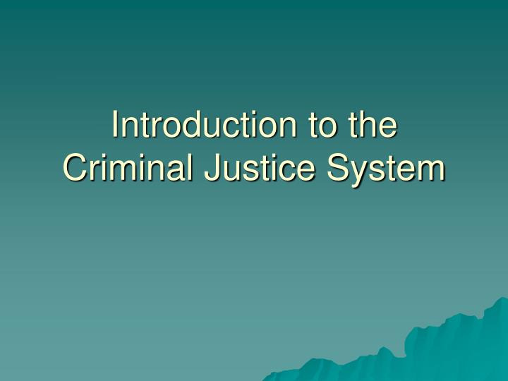 introduction to the criminal justice system n.