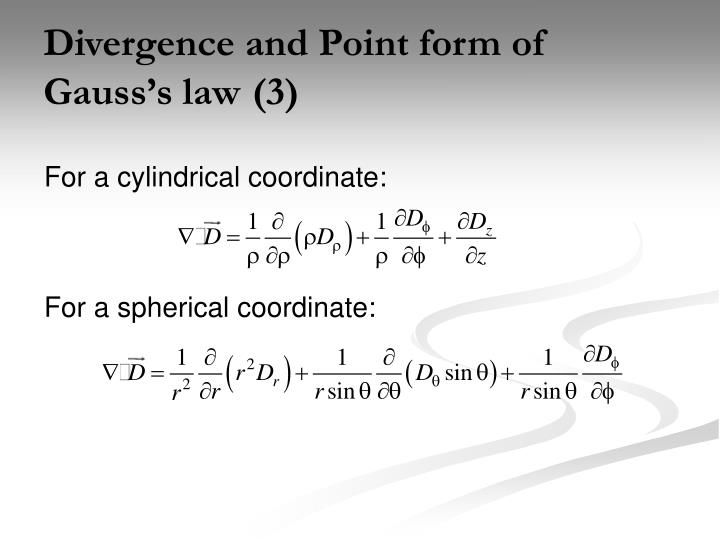 Divergence and Point form of Gauss's law