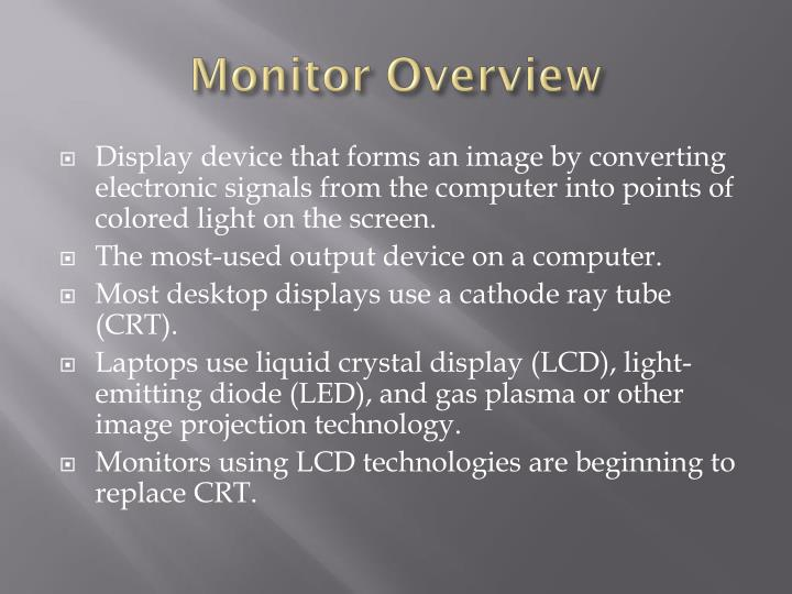 Monitor overview