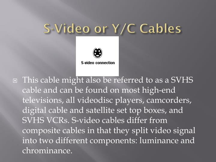 S-Video or Y/C Cables