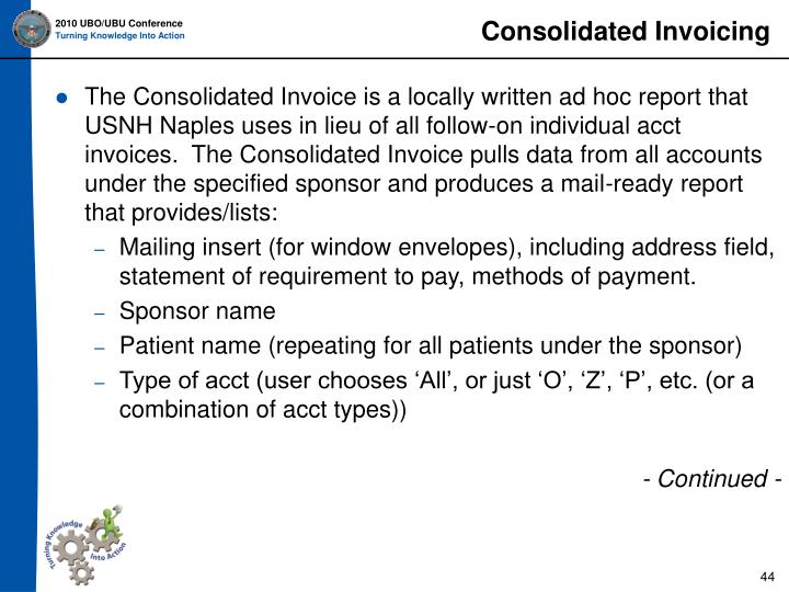 Consolidated Invoicing